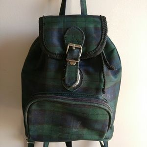 Vintage 1990s Plaid Mini Backpack Purse